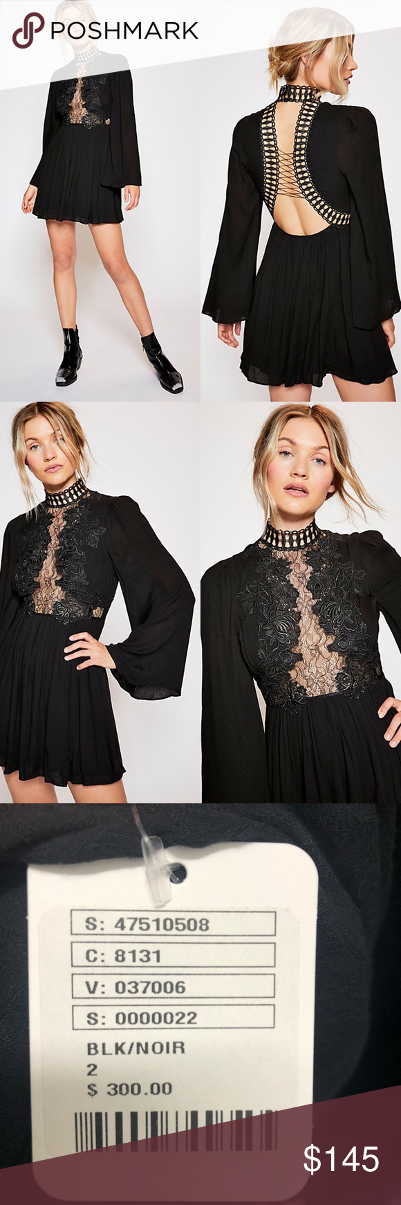 4c354534737a Free People Divine Mini Dress Black Lace Collar NWT Size 2 Romantic bell  sleeve mini dress featuring a sheer lace inset at the bodice and an open  back with ...