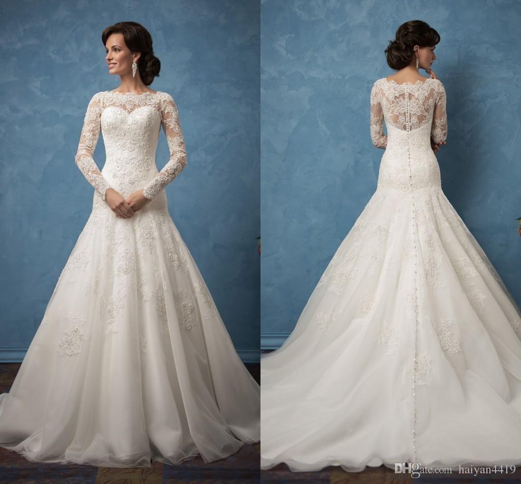 2017 New Cheap Amelia Sposa Mermaid Wedding Dresses Lace Appliques ...