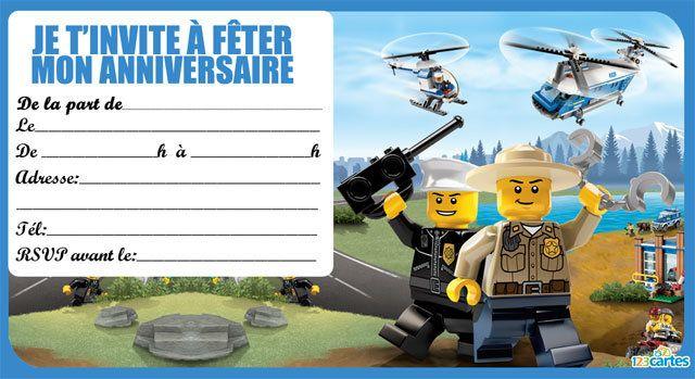 Invitations Anniversaire Lego The City Gratuites à Imprimer Avec Les