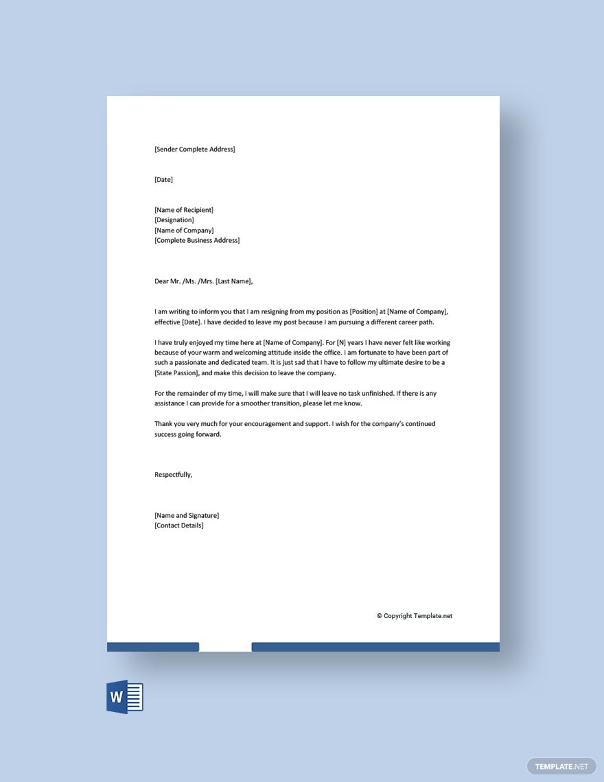 Casual Resignation Letter Template Free Pdf Word Template Net Resignation Letter Resignation Letter Template Letter Template Microsoft word resignation letter template