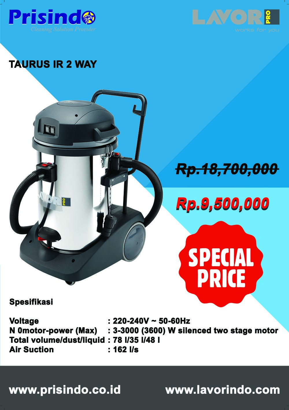 PROMO DISCOUNT WET & DRY VACUUM CLEANER TAURUS IR 2 WAY