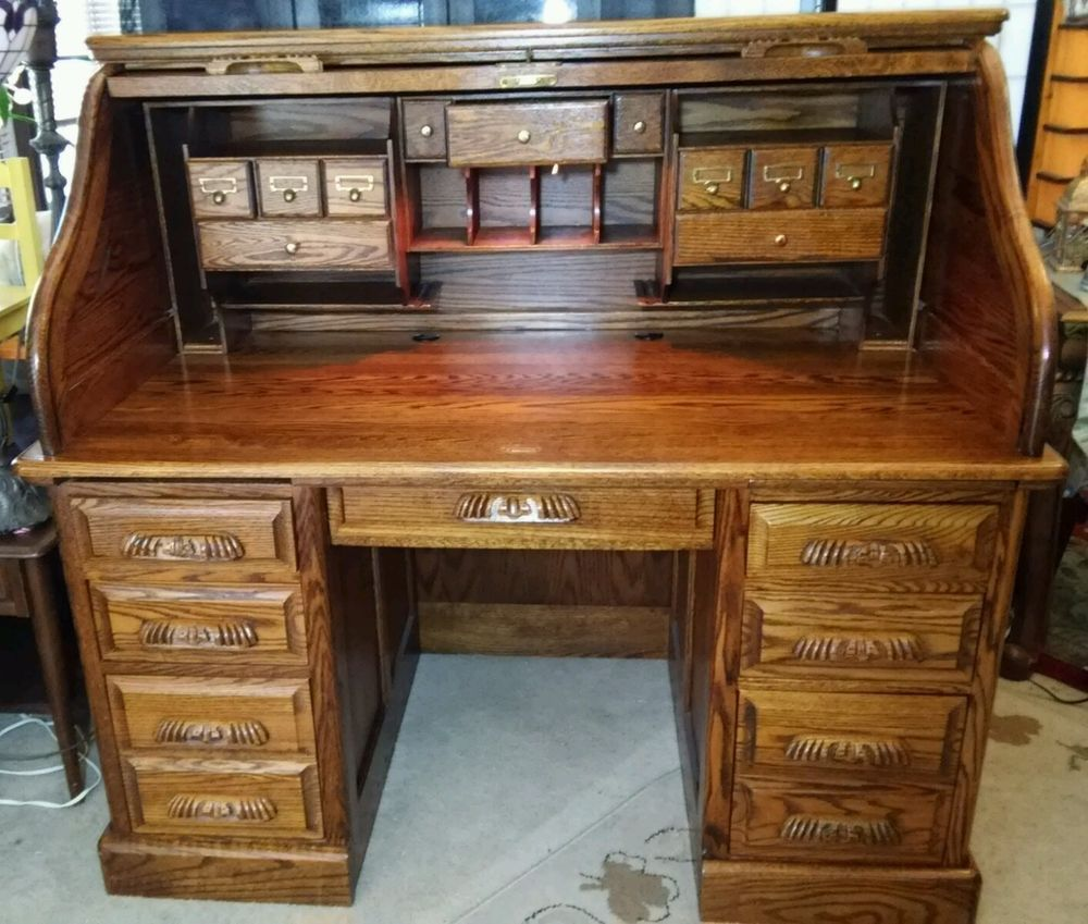 Roll Top Oak Stuart Desk Home Office Furniture Solid Wood