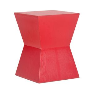 Angled Hourglass Accent Table in Red