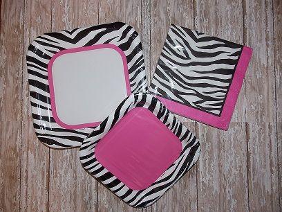 zebra pink 1st birthday supplies Zebra Bright Pink Birthday Party