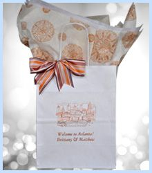#welcomebagsweddings #weddingwelcomebags -Planning an event in Atlanta? Our welcome guest gift bags can ship in 1-2 weeks. Order in increments of 25. Perfect for your wedding, reunion, corporate event, retreat or convention.