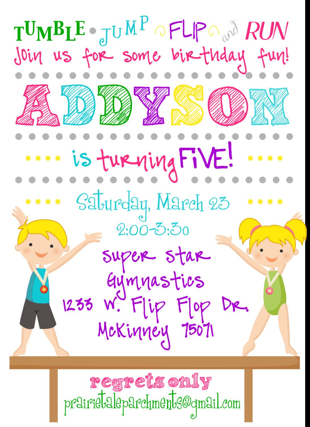 flip flop gymnastics party invitation gymnastics girls flip flop gymnastics party invitation