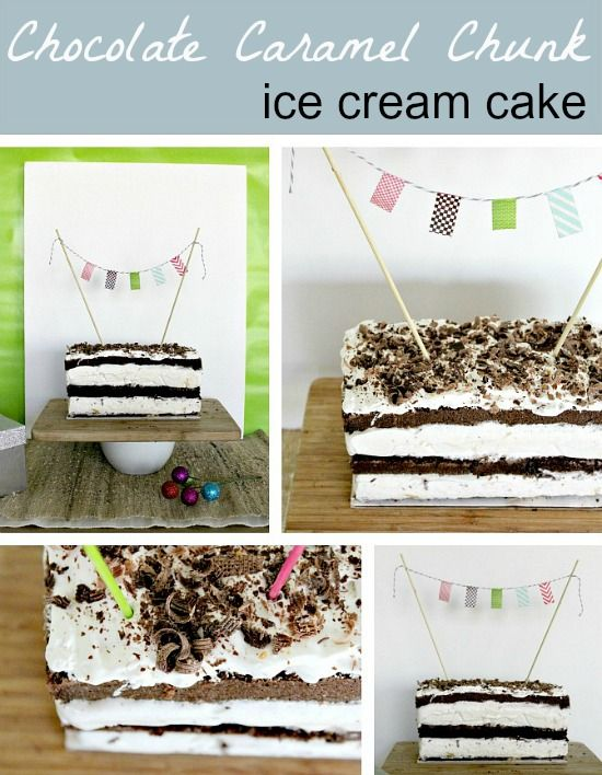 Homemade Chocolate Caramel Chunk Ice Cream Cake #IDBaking