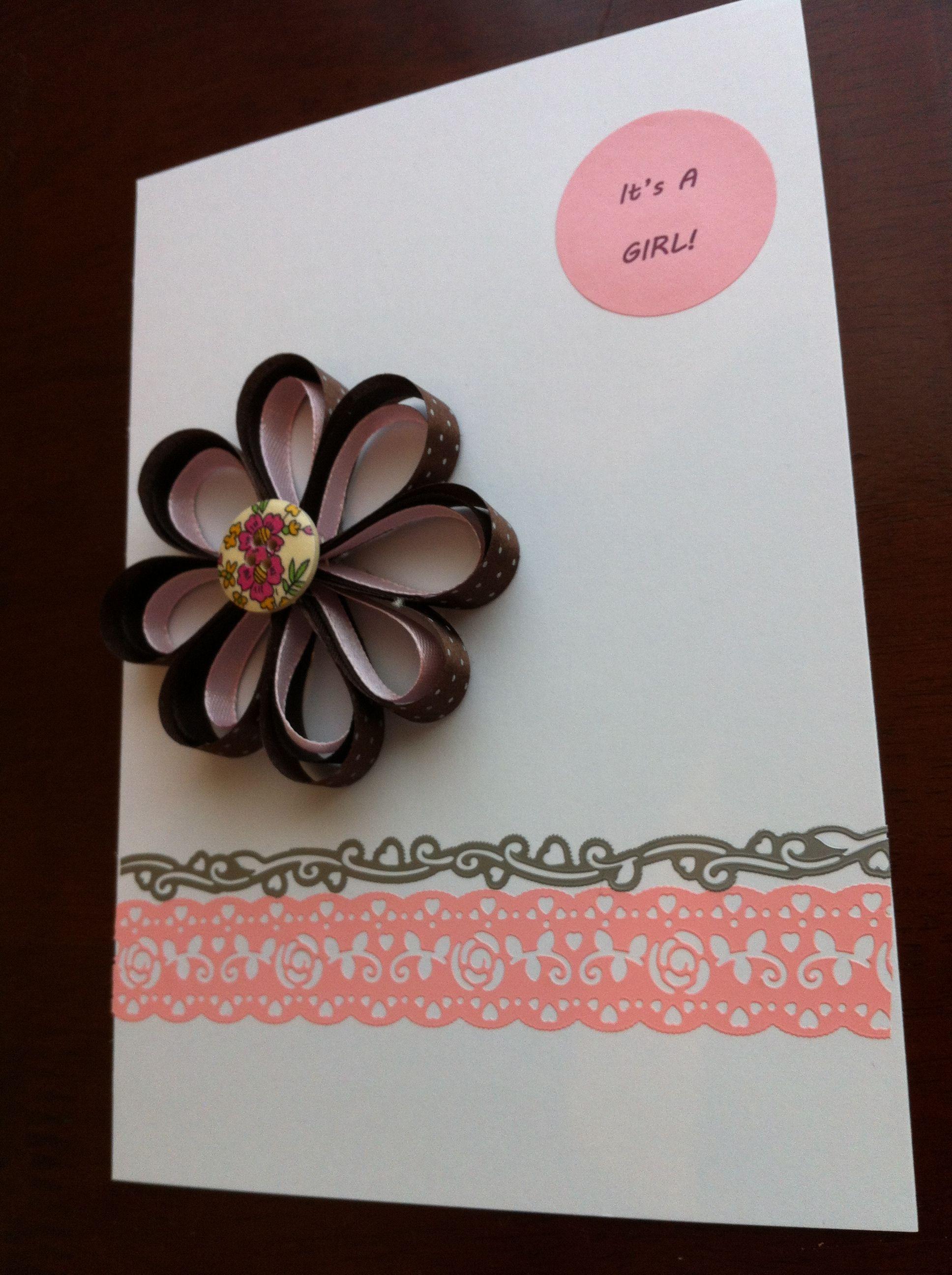 baby girl diy card out of ribbon  diy cards baby girl