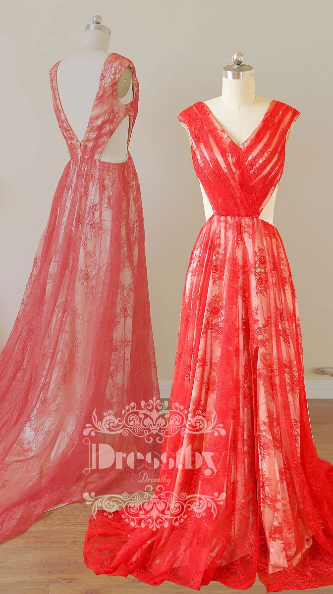 Red v neck lace train long prom dress red evening dress pinterest