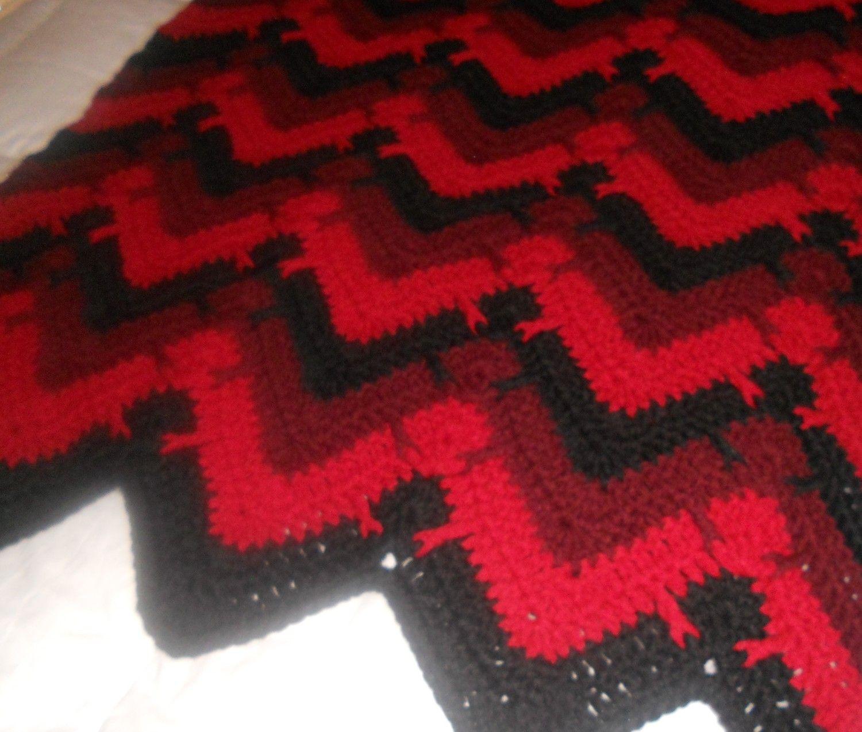 Red & Black Drop Stitch Ripple | My Crochet Afghan Portfolio | Pinterest