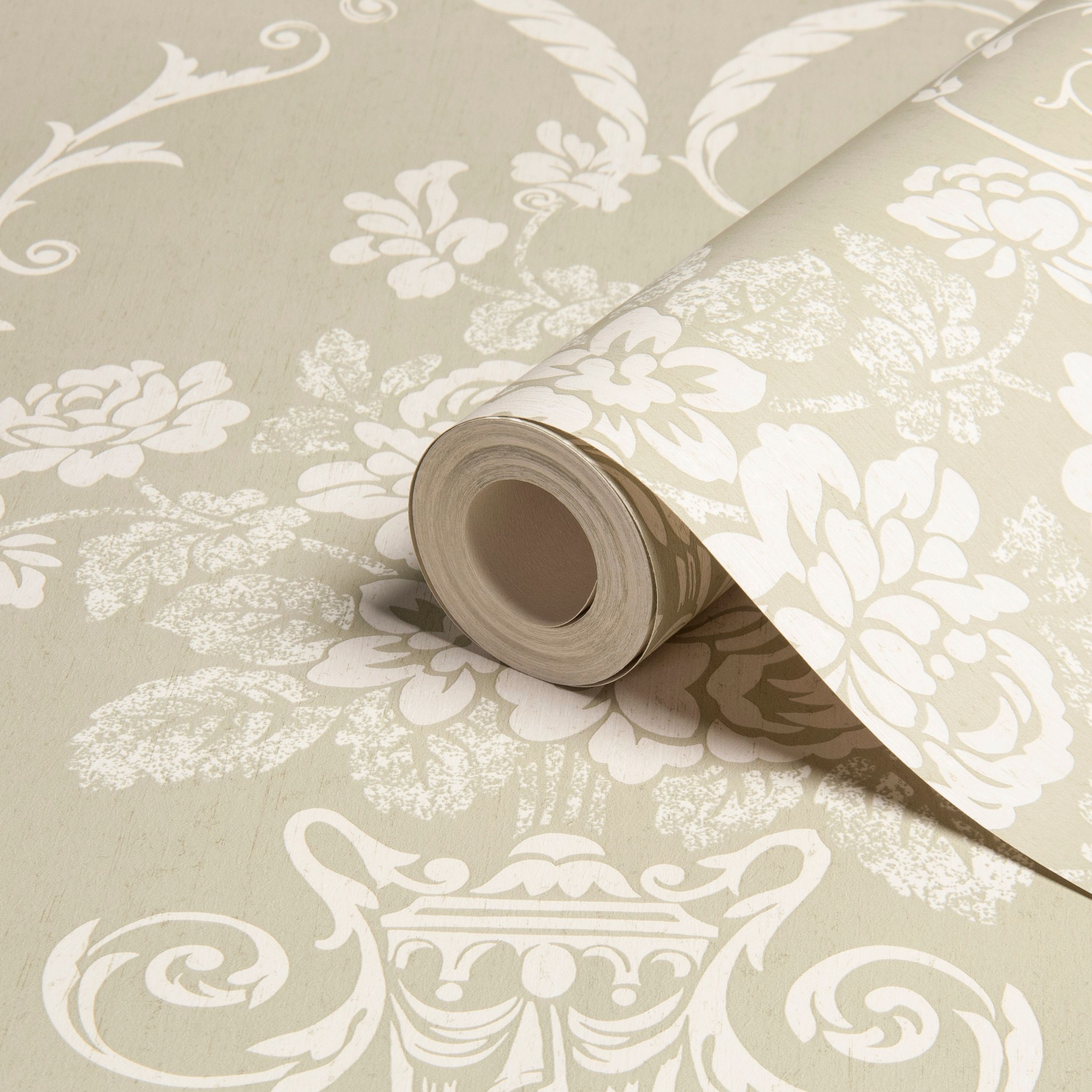 Beatrice Damask Olive White Wallpaper Departments Diy At B Q Beige Wallpaper Green Wallpaper Bedroom Olive Green Wallpaper