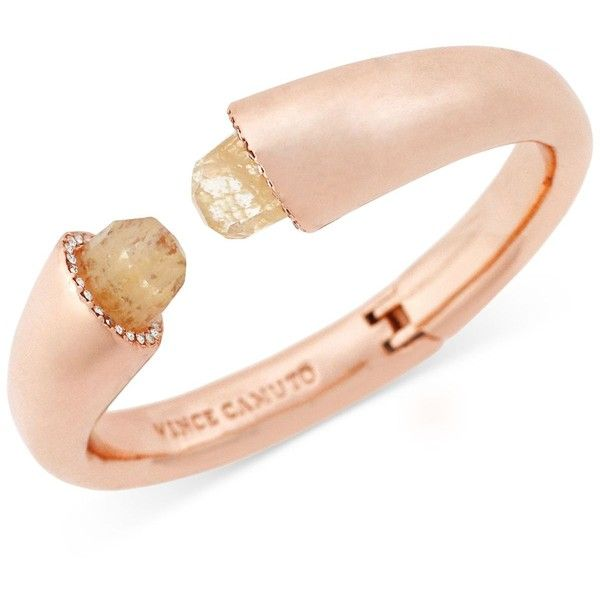 Vince Camuto Rose Gold-Tone Stone Bangle Bracelet ($27) ❤ liked on Polyvore featuring jewelry, bracelets, rose gold, bangle jewelry, vince camuto, stone bangles, rose gold tone jewelry and hinged bangle