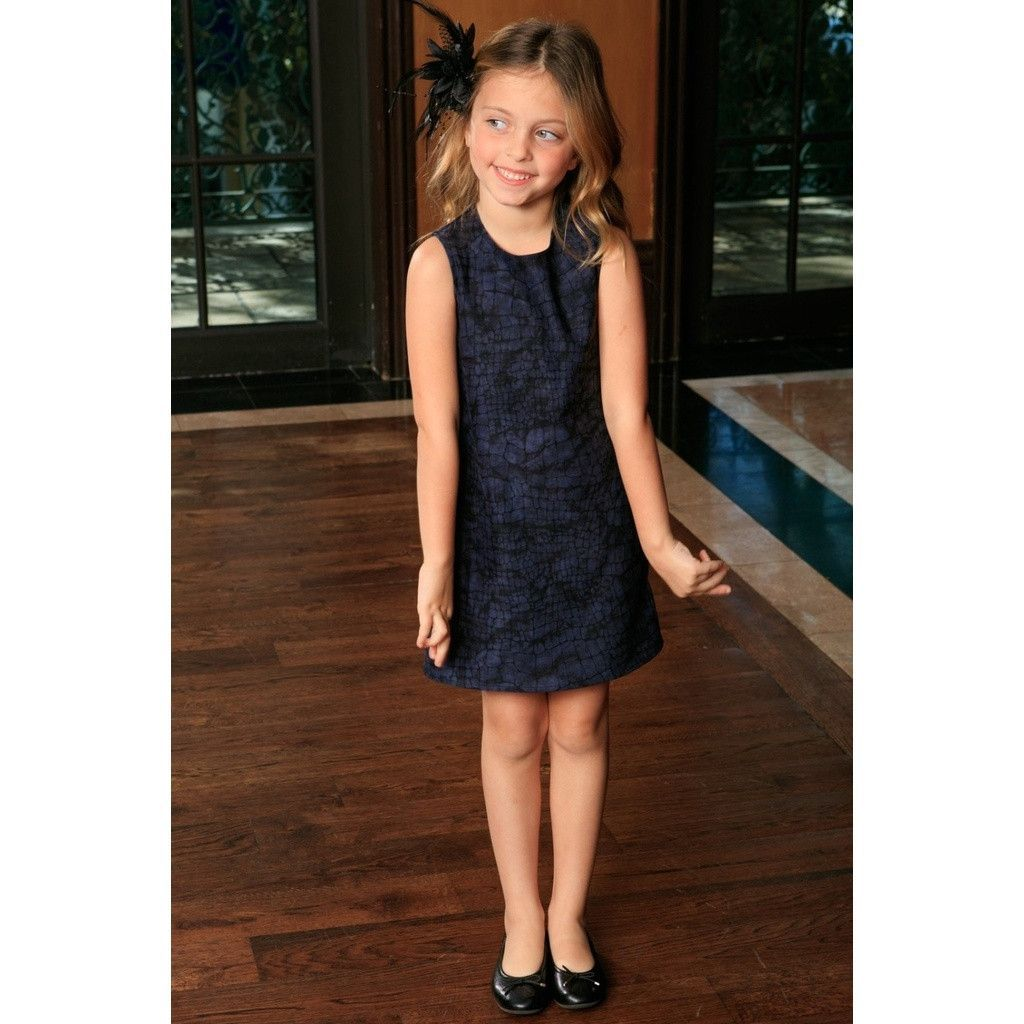 Navy animal print sleeveless stylish fancy party shift dress girls
