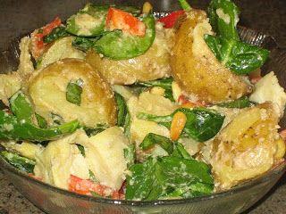 Warm Potato Spinach Salad with Pine Nut Dressing   Dreena's Vegan Recipes