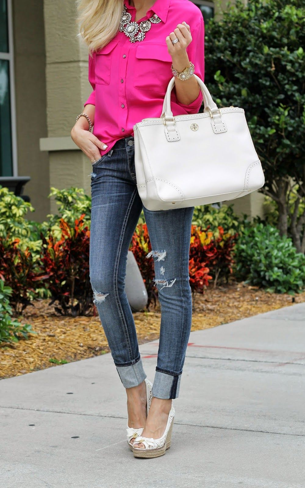 57da2569c A Spoonful of Style Hot Pink Blouses, A Spoonful Of Style, Black Wedges  Outfit
