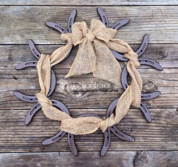 © Burlap & Horseshoe Wreath.  By HorseShoeFever. Horseshoe, Wedding Decorations, Country, Rustic, Modern, Farm, Ranch, Cowgirl, Cowboy, Horses, Rodeo, Wall Art, Birthday, Graduation, Christmas, Gift Idea, Present Ideas, Cabin, Horses, Equestrian, Toddler, Baby Shower Gift, Western Home Decor