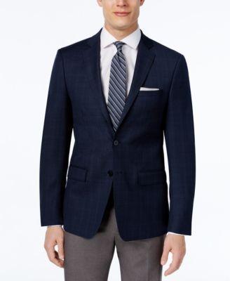 CALVIN KLEIN Calvin Klein Men'S Slim-Fit Navy Plaid Sport Coat. #calvinklein #cloth # blazers