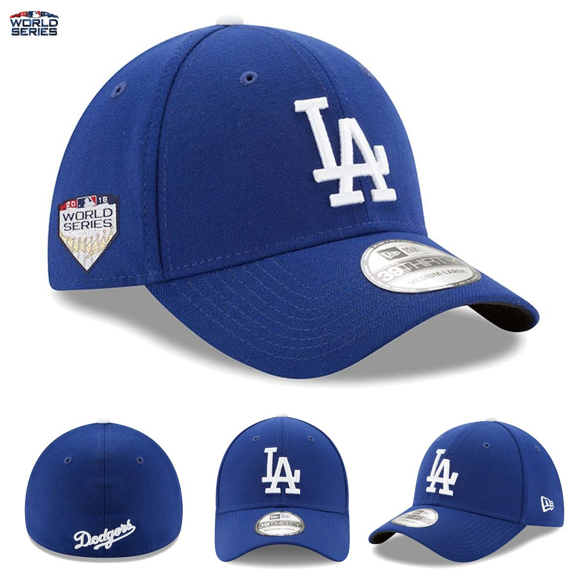 new product 58c0e ac97c Los Angeles Dodgers New Era 39THIRTY Flex Hat 2018 World Series Patch NL  Champs THEY MADE