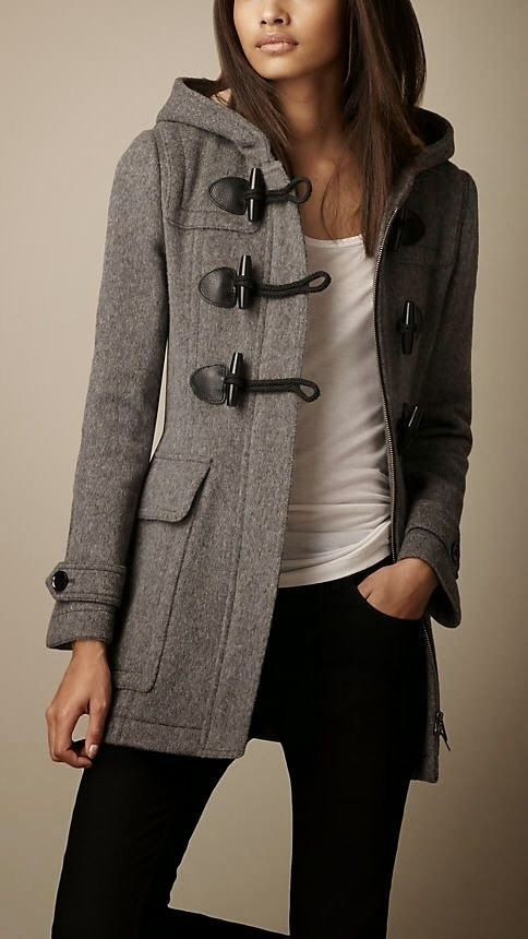 Dark Grey Burberry Toggle Coat | Mode | Pinterest | Dark grey, Pea ...