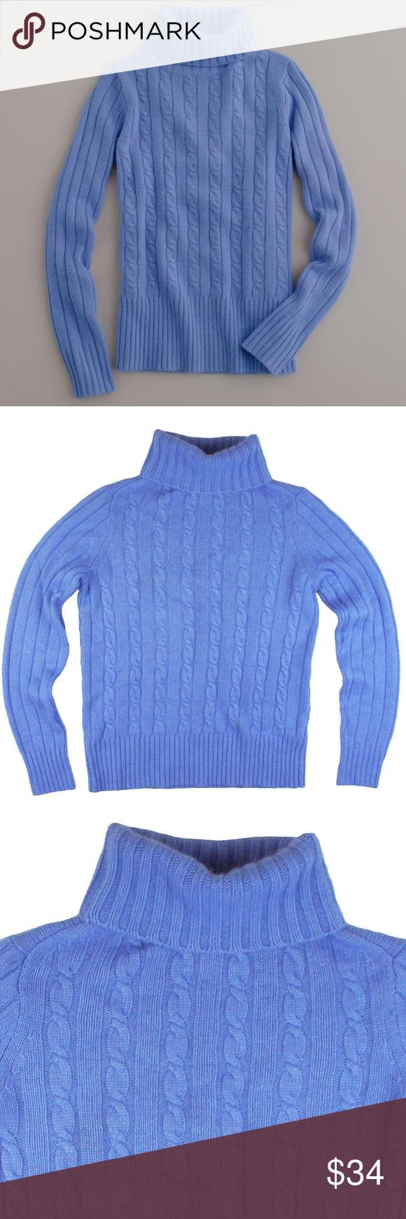 JCREW Blue Cambridge Cableknit Turtleneck Sweater | Periwinkle ...