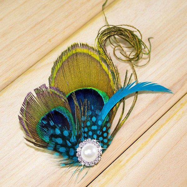 Peacock Clips Feather Hair Accessory Wedding by TopWedding on Etsy, $16.50