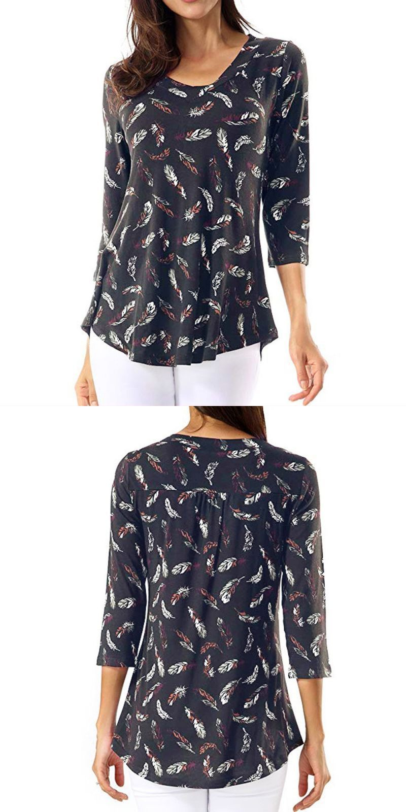 a53be959217 Womens tops and blouses vintage autumn long sleeve blouse 2018 women clothes  feather print ladies tops fashion clothing  polyester  regular  vintage ...