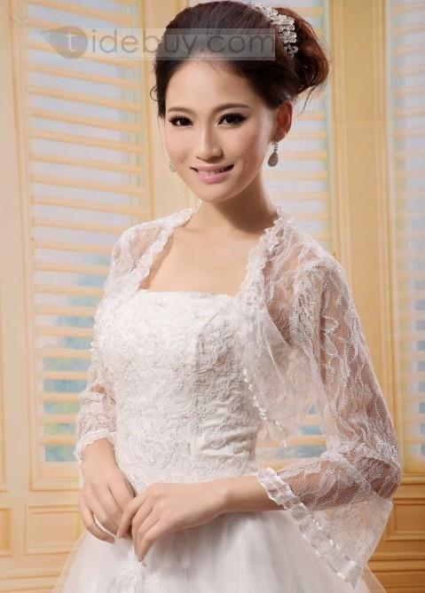 US$45.99 Fancy Long Poet Sleeve White Lace Wedding Bolero Jacket with Floral Edge. #Lace #Fancy #with #Bolero