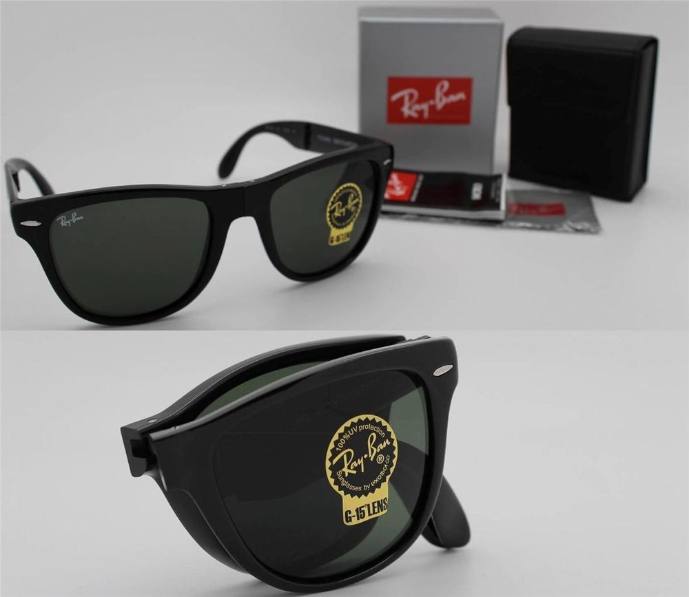 b590798e7182 New Authentic Ray-Ban Folding Wayfarer RB 4105 601 Black Frame / Green Lens  54mm #RayBan #FoldingWayfarer