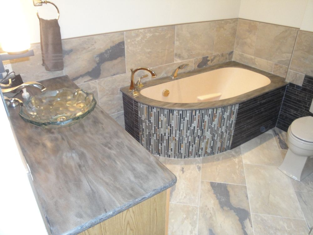 Bathroom Vanity And Tub In Corian, Sorrel For Top And Tub Deck, With Corian