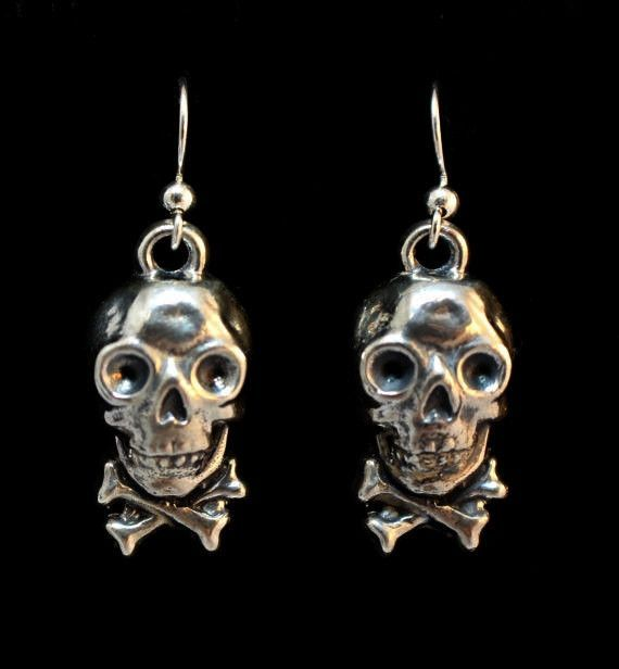 "Until Death, Inc. "" Steampunk Cracker Jack Skull "" Dangle Earring Pair Solid .925 Sterling silver."
