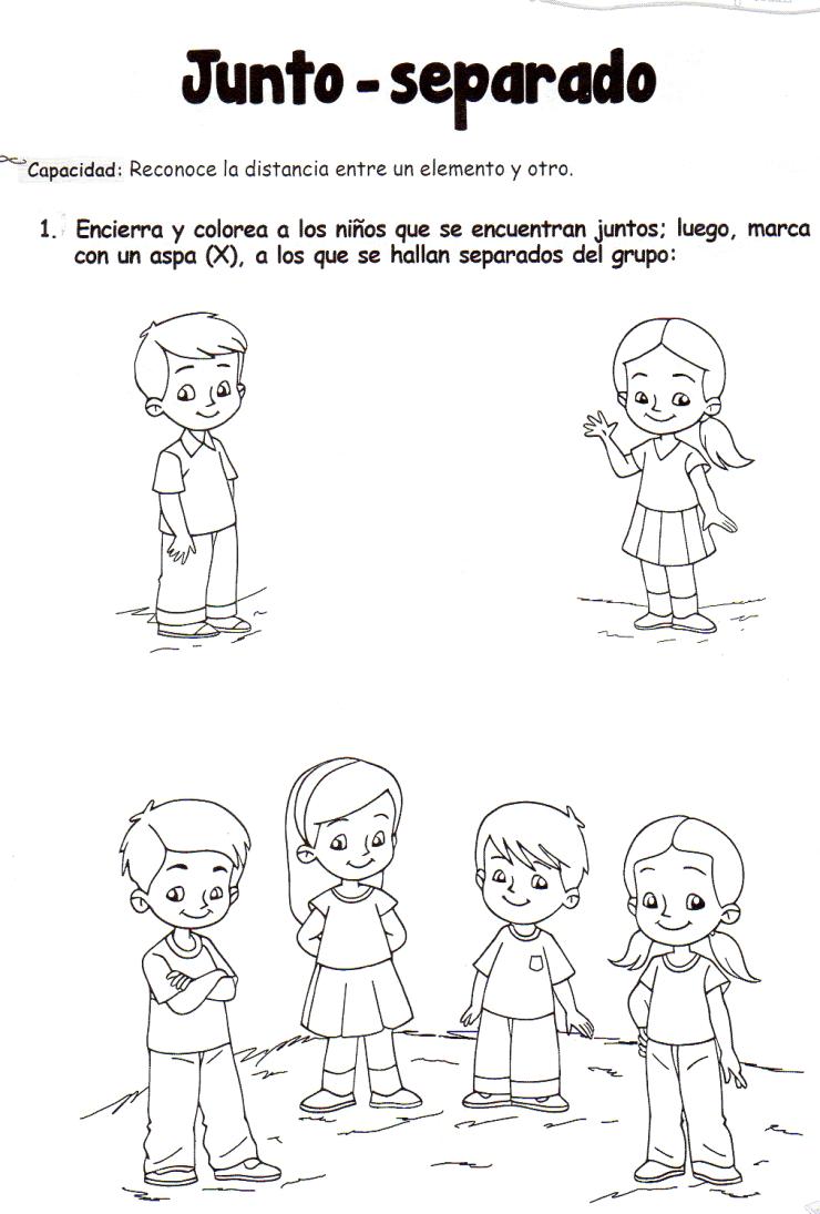 Ficha imprimible de matemáticas para 5 años. Tema: Junto - separado ...