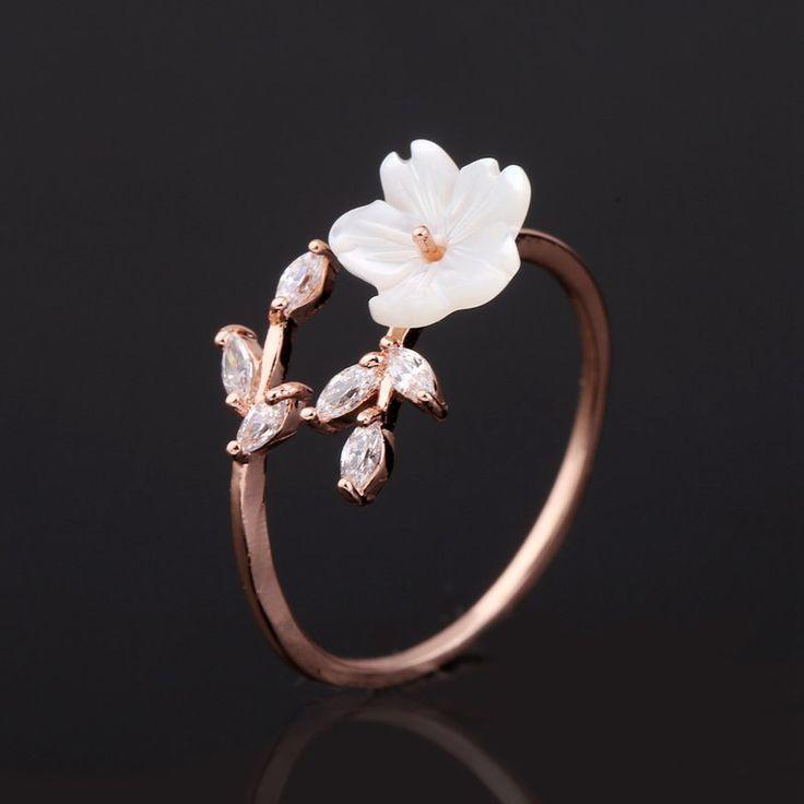 Open Ring rose gold women Delicate Zircon Crystal Leaf Shell Flower
