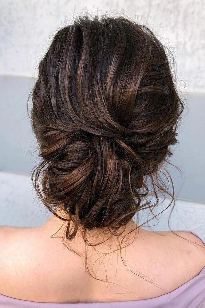 Bohemian Wedding Hairstyles Elegant And Messy Low Bun On Medium Brown Hair Veronika Belyanko Hairbrown Hair Styles Boho Wedding Hair Elegant Wedding Hair