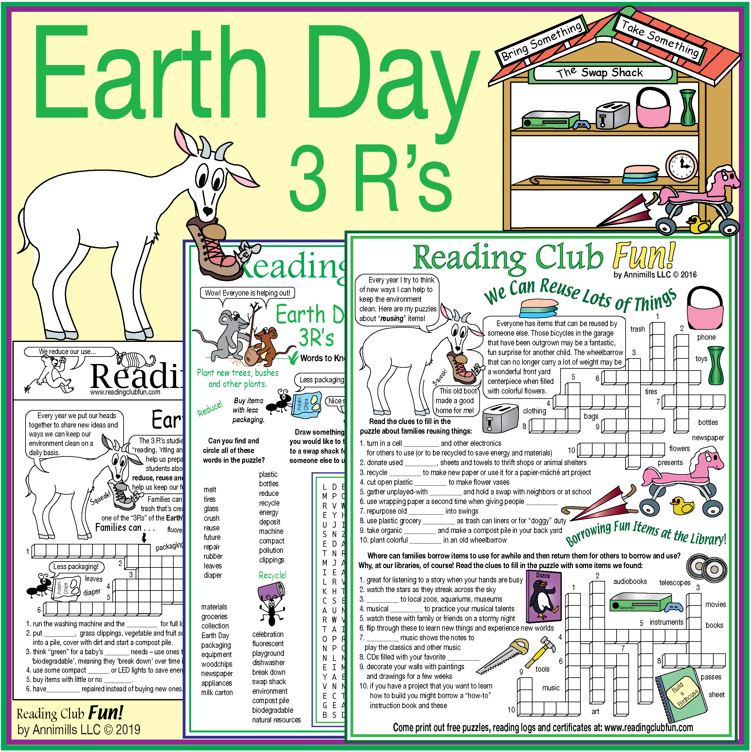 Earth Day 3 R S Puzzle Pack Activity Set Word Search