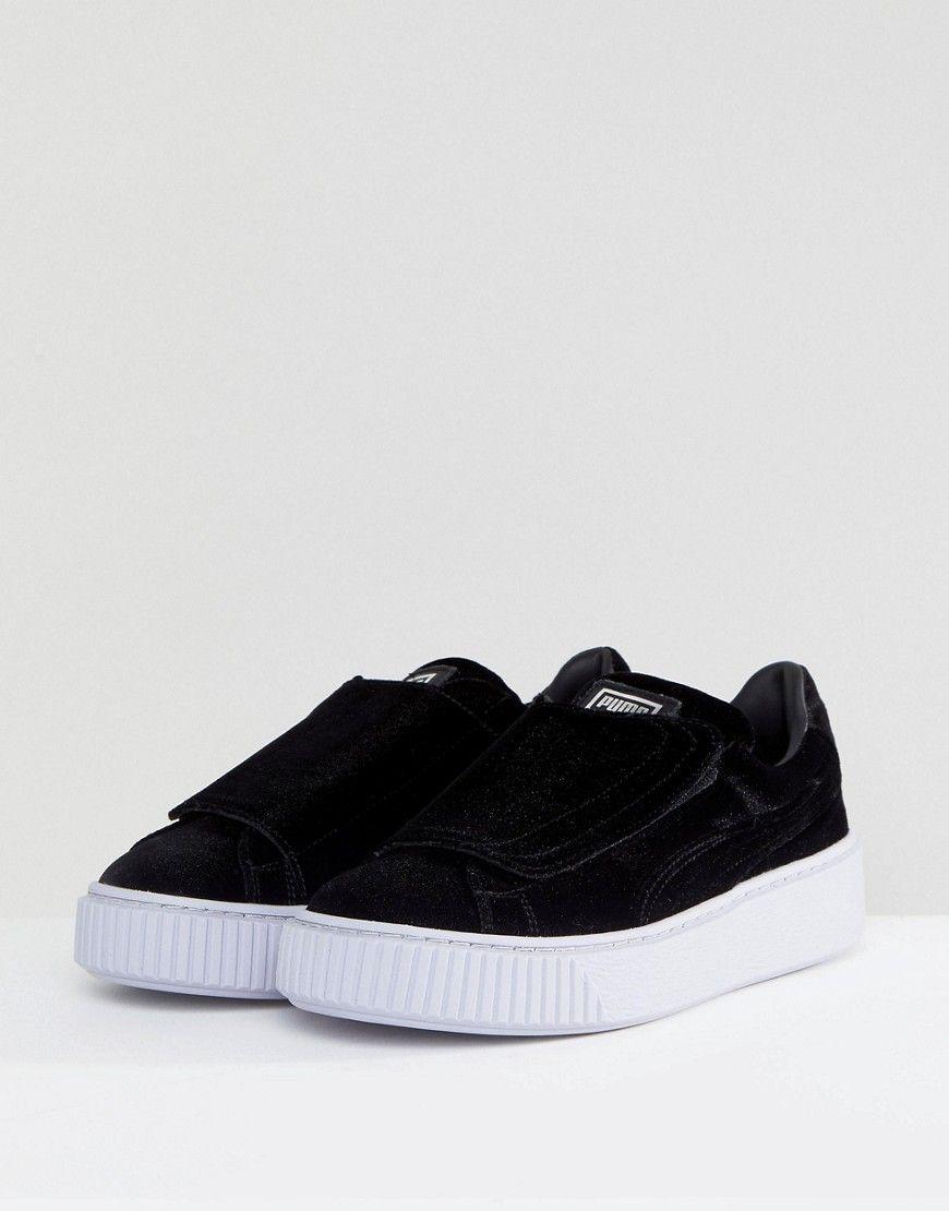 471e328f75b Puma Velour Strap Platform Sneakers In Black - Black