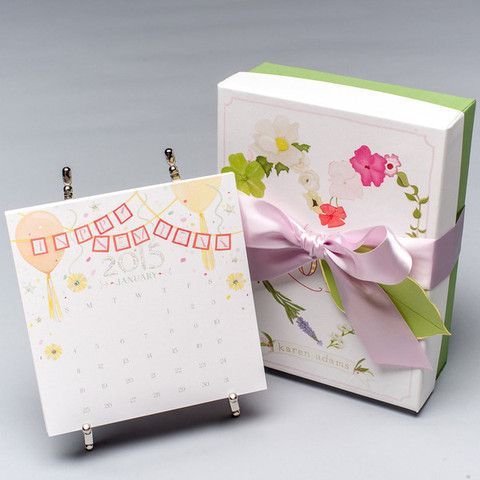 2015 Karen Adams Calendar with Gift Box with Gold or Silver Easel – Paper Luxe