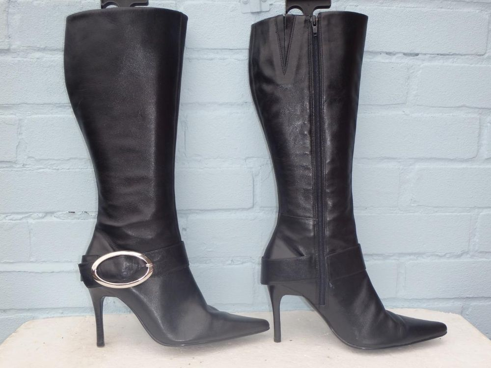 SEXY BLACK ~ FAITH ~ Buckle LEATHER BOOTS, Ladies Size 6 39, Gift