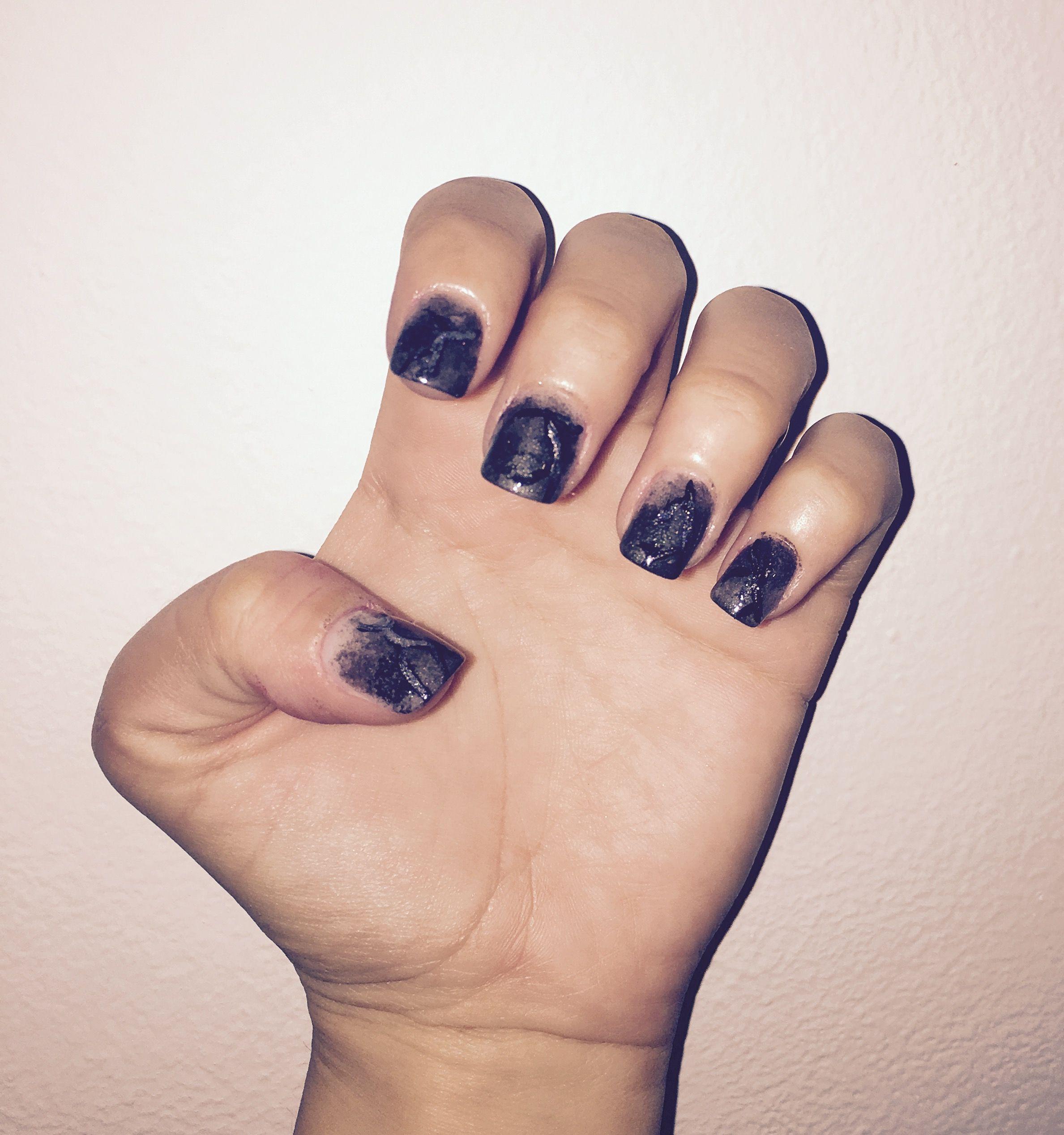Mramor nail design Light gray + dark grey + black lines + silver ...