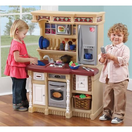 Step2 Lifestyle Custom Play Kitchen With 20 Piece Accessory Play Set Tan Walmart Com Kids Play Kitchen Set Kids Play Kitchen Play Kitchen Sets