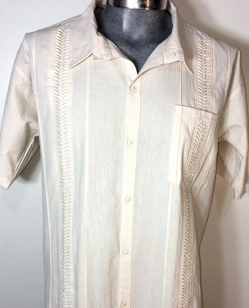 Guayabera Authentic Mexican Shirt Cami Wedding Wear 100 Cotton XL