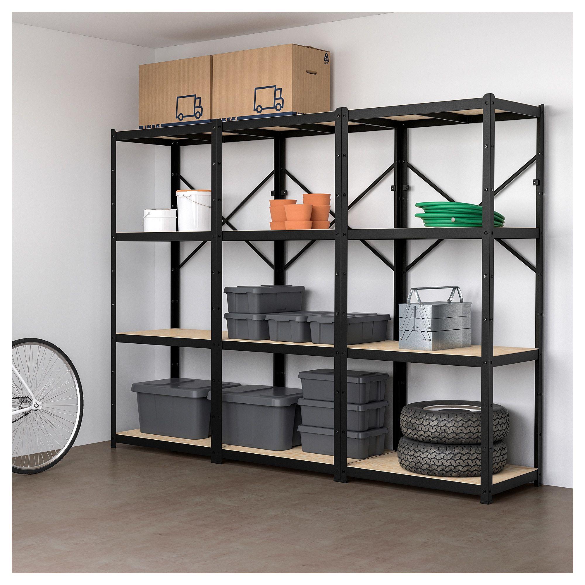 Shelving Unit Bror Black Wood Home Office Ikea