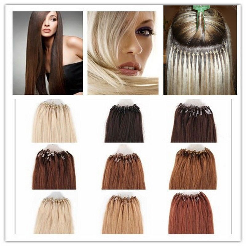 100s Easy Loop Micro Ring Beads Tipped Real Remy Human Hair