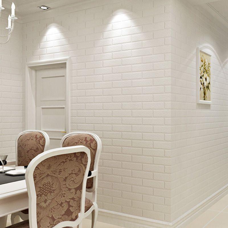 Off White 3D Modern Design Brick Wallpaper Roll Vinyl Wall