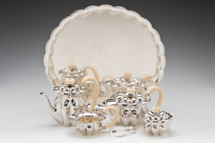 "Josef Hoffman (Austrian,1870-1956)/ Wiener Werkstätte (Austria) ""Tea and Coffee Service""  c. 1918-1923 silver, ivory  (tray:) 1 x 20 x 18.5"" Photo: David H. Ramsey. 2003.46.3"