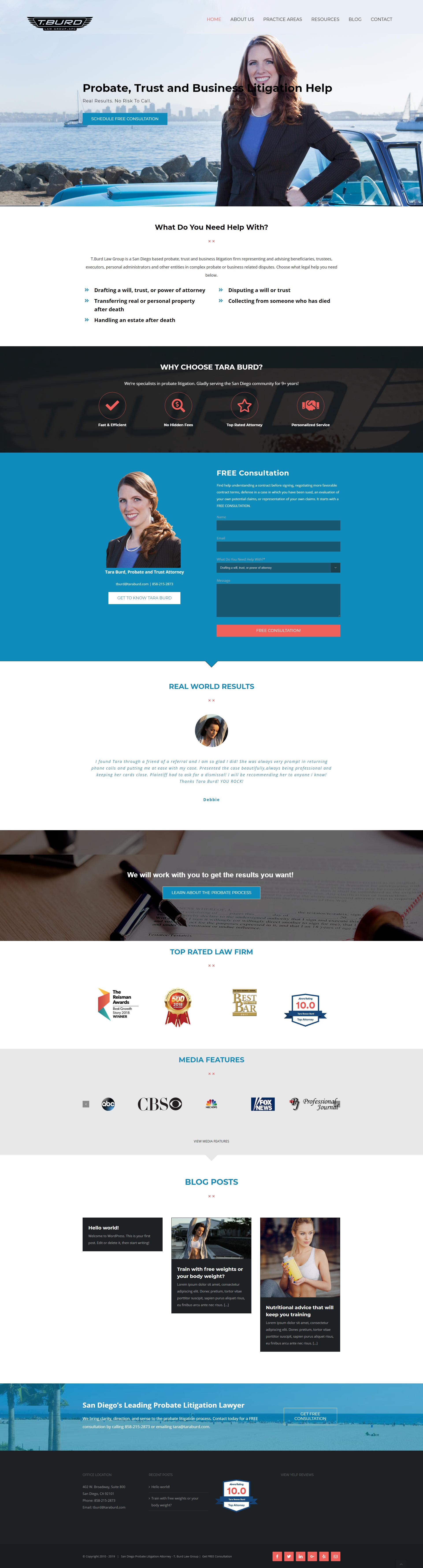 Website Design For San Diego Law Firm T Burd Law Probate Litigation Lawyer Website Design Litigation Lawyer Website Redesign