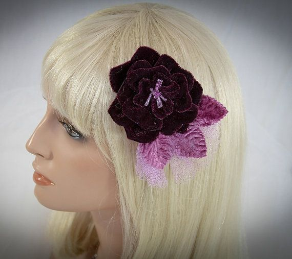 Great All Occasion Fascinator, Hair Clip Purple-$36.00 #vintageweddings   #bridalfascinator   #purple #bridalhairclip   #bridalheadpiece #weddings #purpleweddings #flowerhairclip #vintage #cocktailfascinator #plum