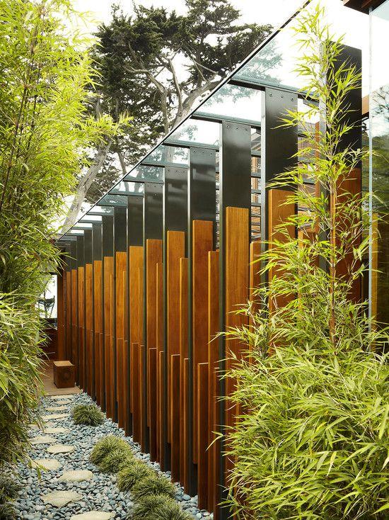 bambus pflanzen deko exterieur kies steine gehweg garten - deko garten modern