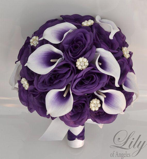 Wedding Bridal Bouquets 17 Piece Package Bouquet Silk Flowers Bride ...