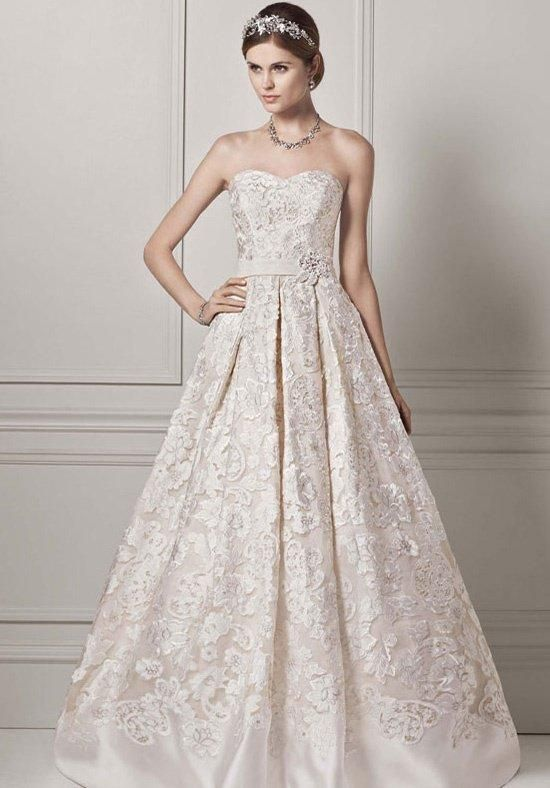 Strapless Organza Ball Gown with Lazer Cut Design | Oleg Cassini at ...