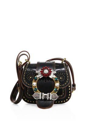 095f3c944186 MIU MIU Dahlia Small Studded Leather Saddle Bag.  miumiu  bags  shoulder  bags  crystal  suede  lining